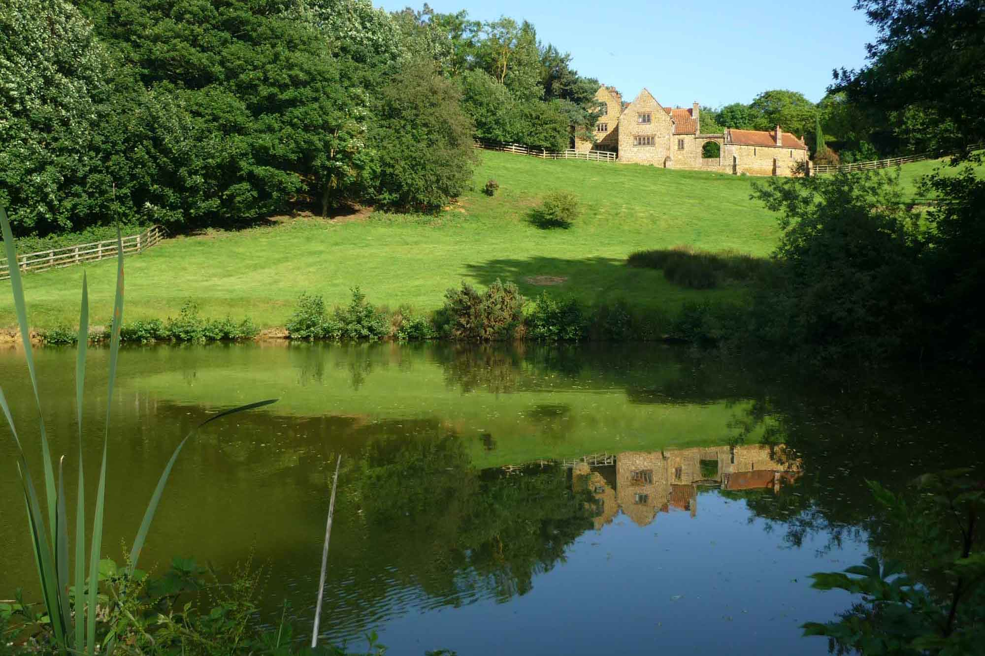 Heath Farm Holiday Cottages reflection in pond
