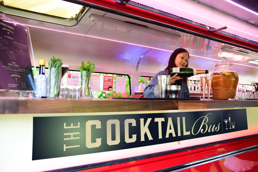 Inside the cocktail bus
